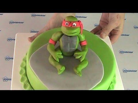 Tutorial Ninja Turtles cake pasta di zucchero torta decorata fondant - YouTube
