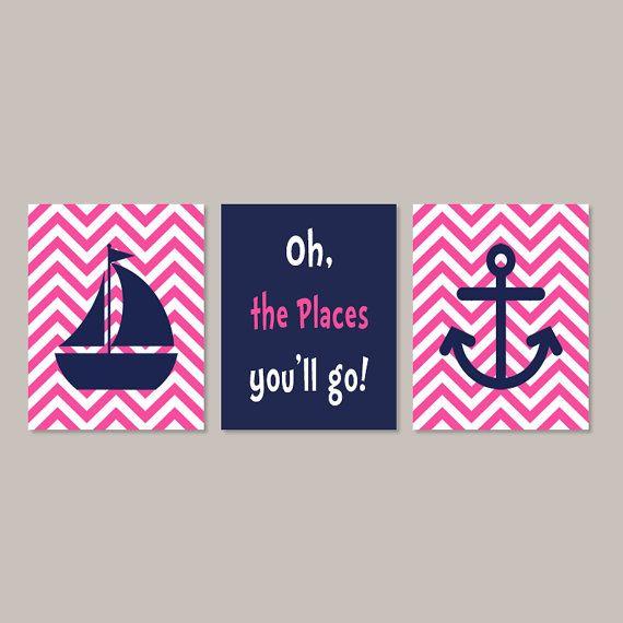 Nautical Hot Pink Navy Wall Art Sailboat by LovelyFaceDesigns