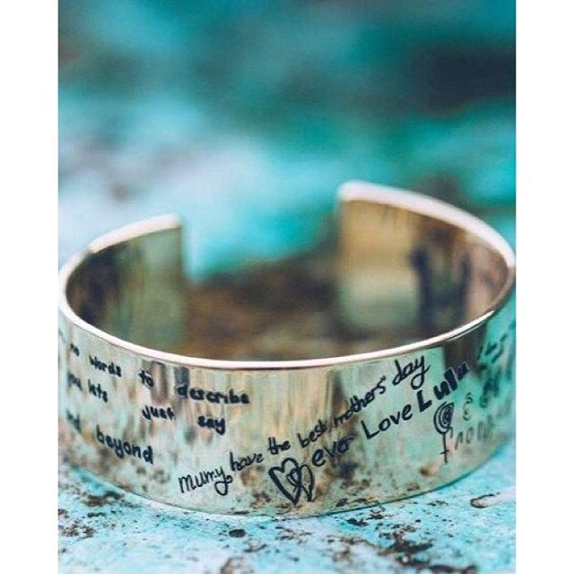 It doesn't get more personal than this - a personalised Expression Cuff available in wide medium and narrow and in silver and gold. www.uberkate.com.au