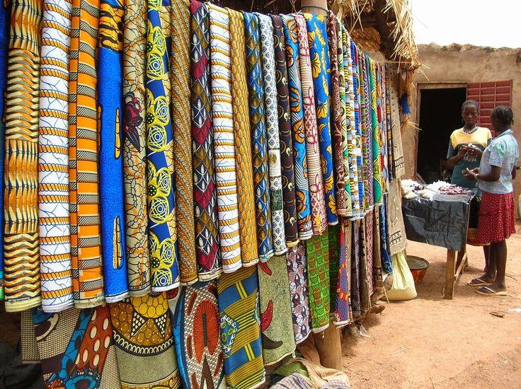 """African textile vendor in Ouagadougou"""" Burkina Faso"""