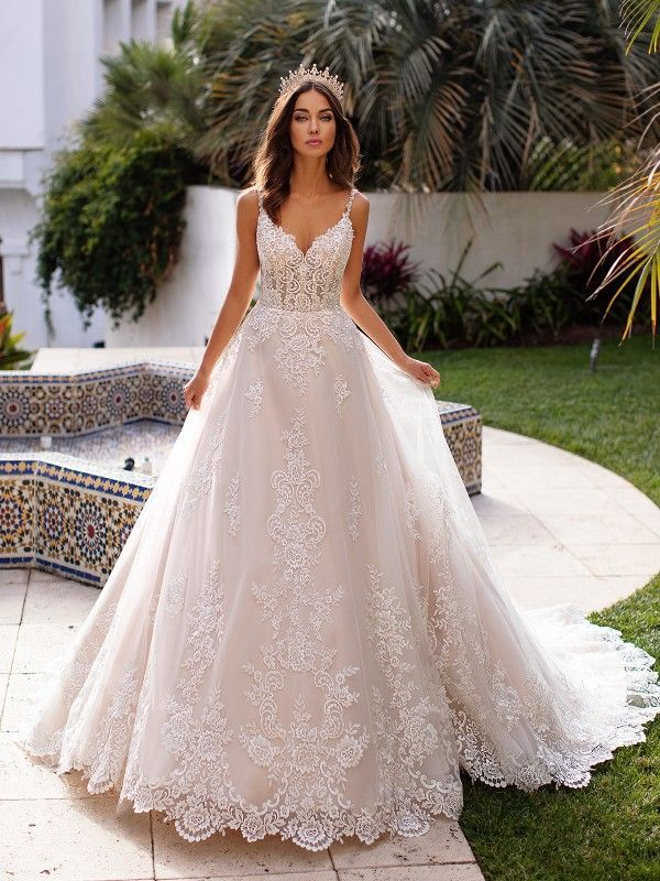Full Lace A Line Wedding Gown Moonlight Couture H1397 Lace Bride A Line Wedding Dress Bridal Gowns