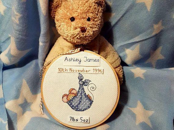 Baby boy birth announcement, Nursery cross stitch, wall art, Baby shower, christening gift. #newbabyboy #birthannouncement #nurserydecor #nurserybespoke #crossstitchgift #crossstitchhoop #giftfornewbaby #babyshower #giftfornewbaby #lucieheaton #nurserywallart #presentforson #birthstats #birthstatistics  Check out this item in my Etsy shop https://www.etsy.com/uk/listing/600707741/baby-boy-birth-announcement-nursery