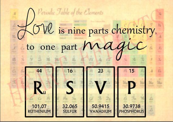 Chemistry Periodic Table Wedding Invitation/Invite RSVP Love Quote *DIGITAL…