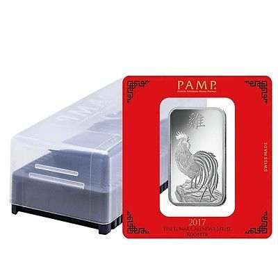 Box of 25 - 100 gram PAMP Suisse Year of the Rooster Silver Bar (In Assay)