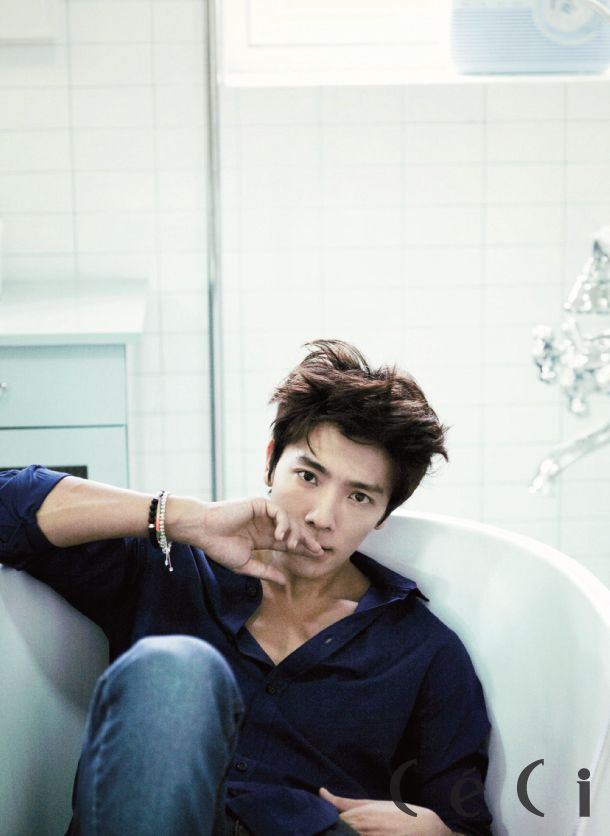 Super Junior's Donghae in CeCi September 2012 - what is it about a guy wearing a button up shirt that is just so hot?