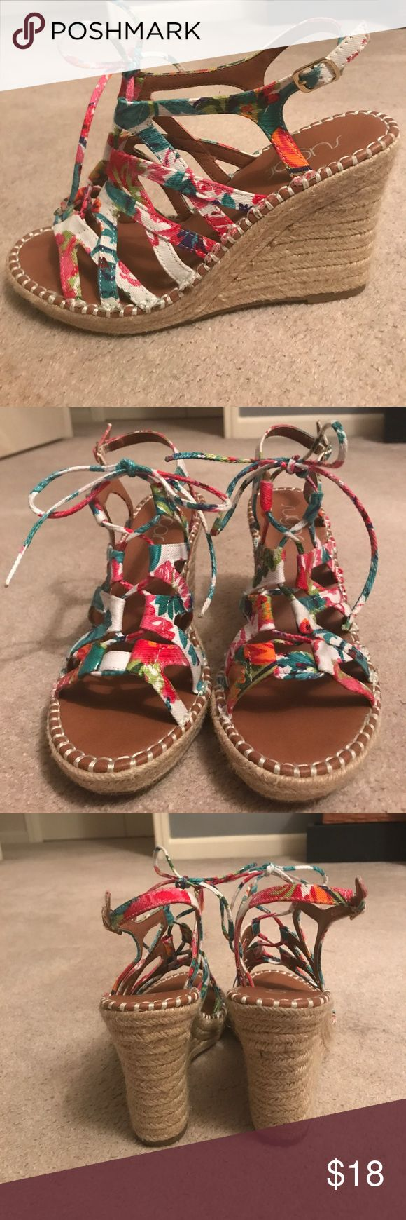 Sugar Lace Up Multi Color Espadrilles Sz. 8 Sugar Lace Up Multi Color Espadrilles Sz. 8 - Only worn once. No scuffs, marks, discoloration, or other signs of wear. From a smoke free home. Feel free to make an offer or bundle to save! sugar Shoes Espadrilles
