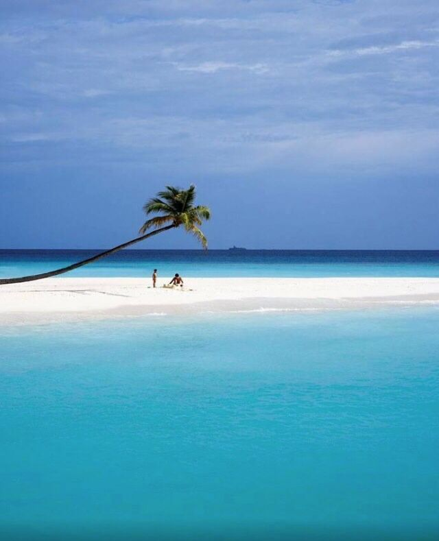 Blue skies, white sand and clear ocean