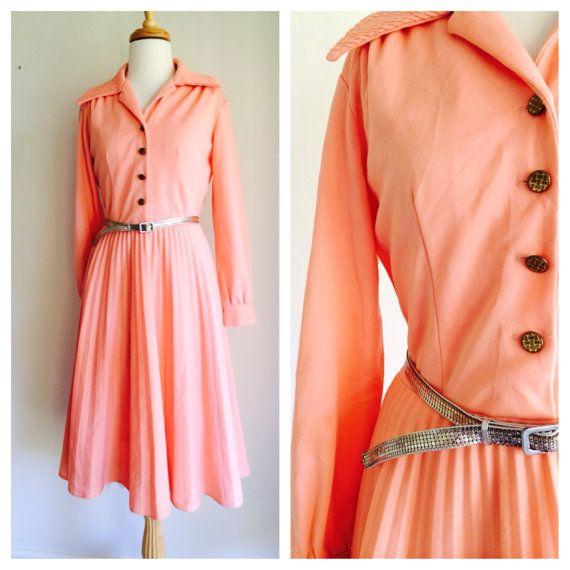 Peach pink vintage sunray pleated dress with metal by MrsJoyful, $60.00