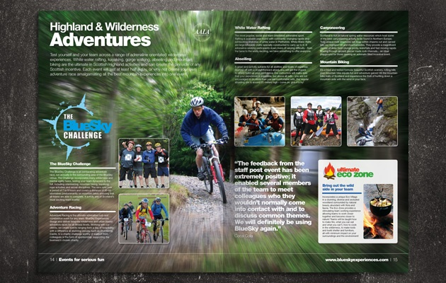 Brochure for BlueSky Experiences - one of Scotland's leading team building activities organisations
