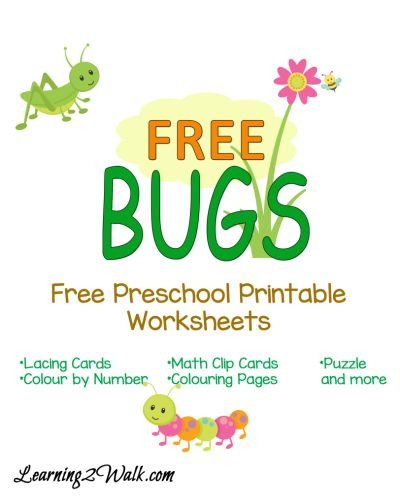 FREE Preschool Bug Themed Worksheets