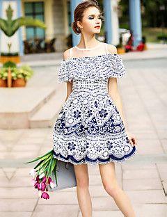 Női Rövid ujjú Kék Poliészter ruha