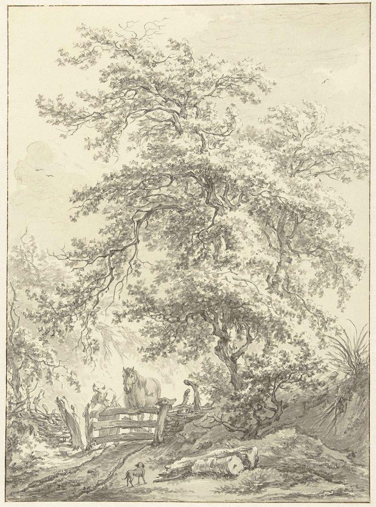 Egbert van Drielst | Vrouw met paard bij hek onder grote boom, Egbert van Drielst, 1755 - 1818 |