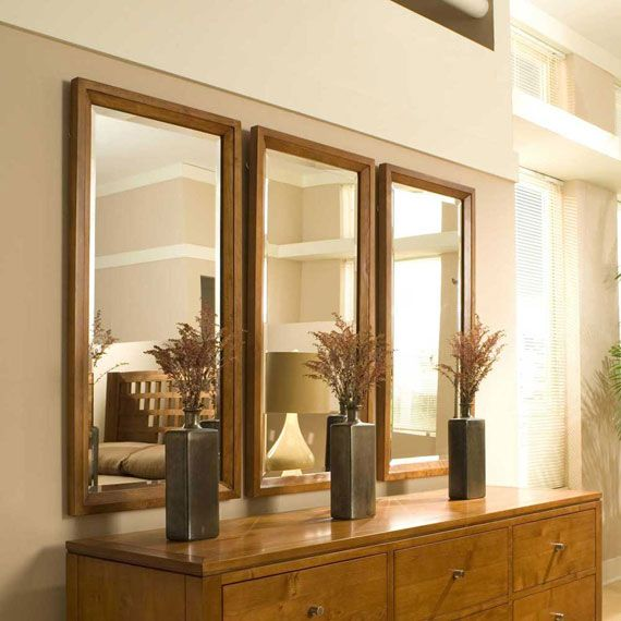 Wall Mirrors With Brown Solid Oak Wood Frame As Well Decorative Large Plus Mirror Designers Cheap Beautiful Modern For Living Room