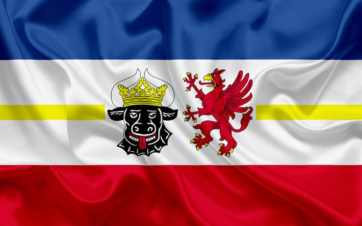 Download wallpapers Flag of Mecklenburg Western Pomerania, Land of Germany, flags of German Lands, Mecklenburg Western Pomerania, States of Germany, silk flag, Federal Republic of Germany