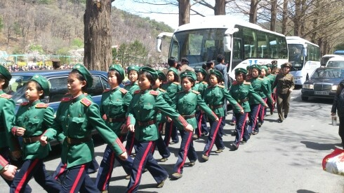 Military precision in Pyongyang, even at this age!