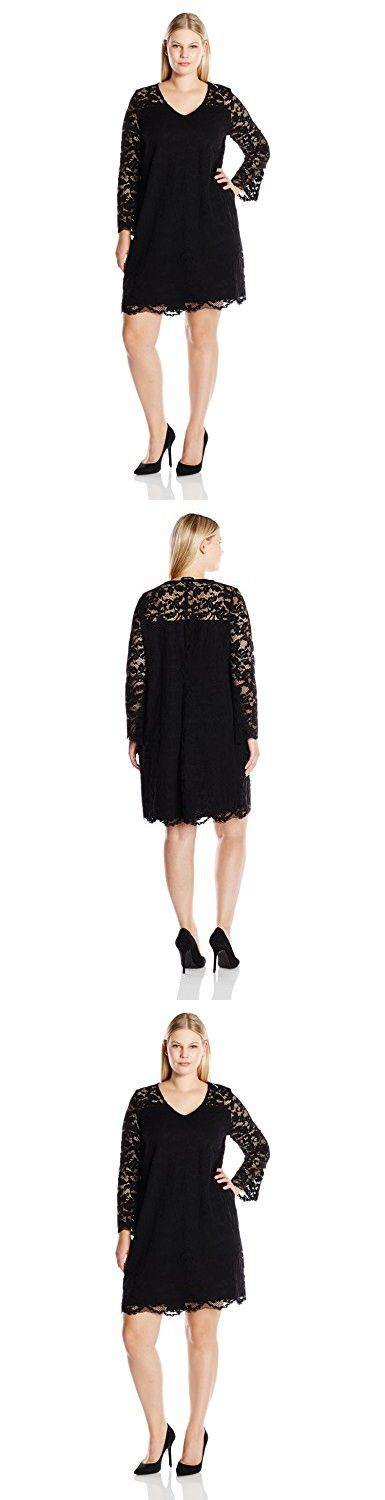 Karen Kane Women's Plus Size Bracelet Sleeve Lace Dress, Black, 1X