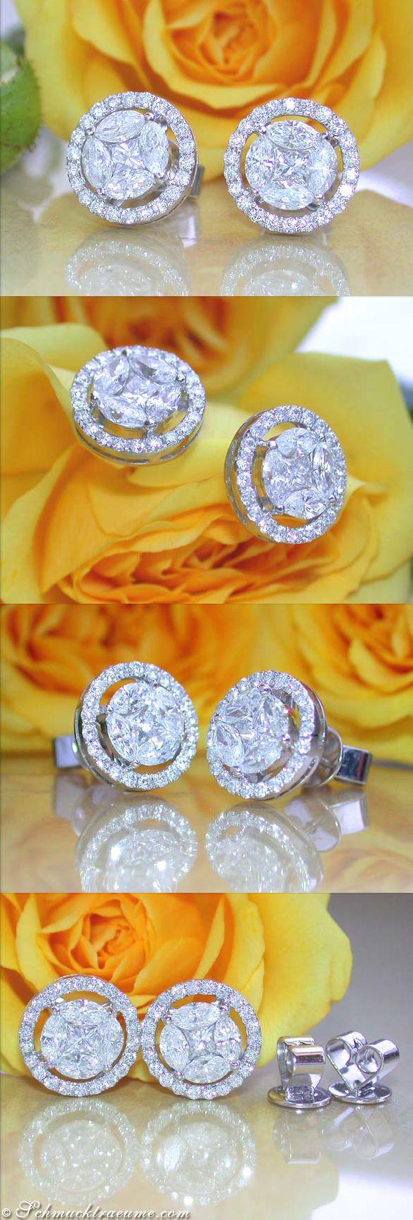 Beautiful Diamond Earrings, 1,34 ct. G-SI/VS WG18K - Visit: schmucktraeume.com - Like: https://www.facebook.com/pages/Noble-Juwelen/150871984924926 - Mail: info@schmucktraeume.com