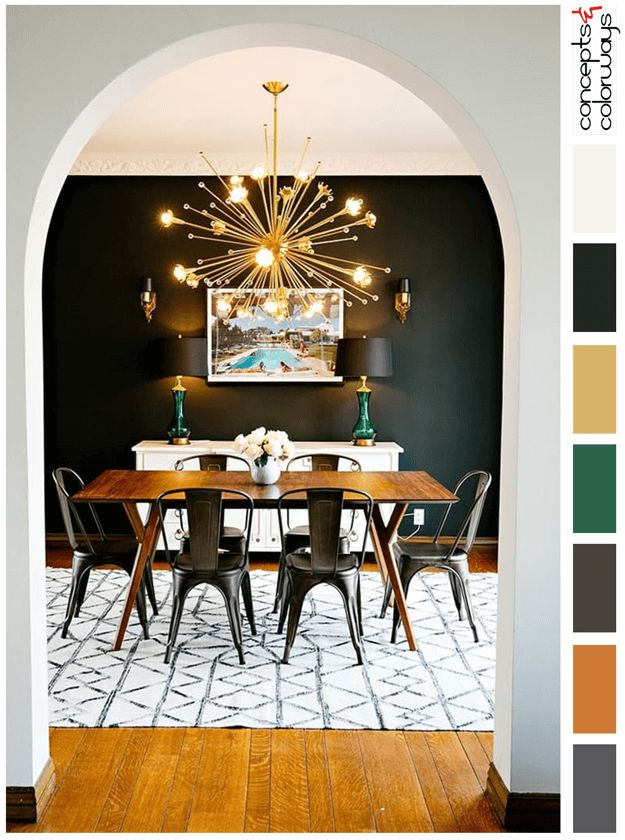 dark color palette with white accents, dark bronze, black walls, burnt orange wood, charcoal gray, emerald green, gold, white accents, color for interiors, color palettes, color combinations, color schemes, color ideas, paint palettes, sherwin williams sealskin