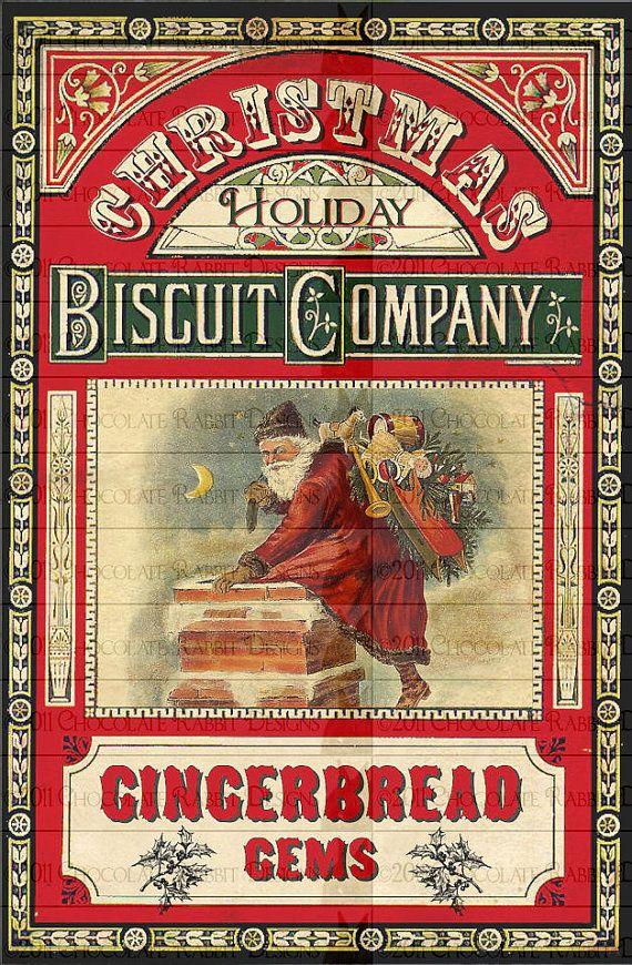 Biscuit pain d'épice de Noël étiquettes téléchargement numérique étiquette imprimable Collage feuille Vintage Santa Clip Art