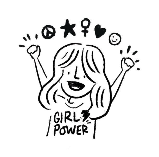 girl power! Black and white illustration by LittleKippers #internationalwomensday #girlpower