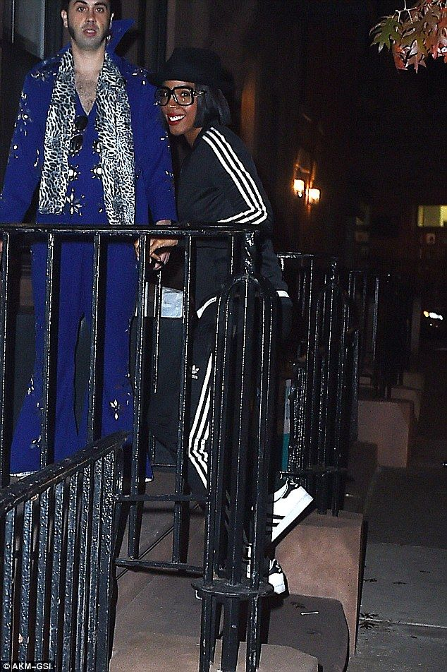 Sporty Spice: Kelly was sporting a Run DMC inspired look consisting of top to toe Adidas f...