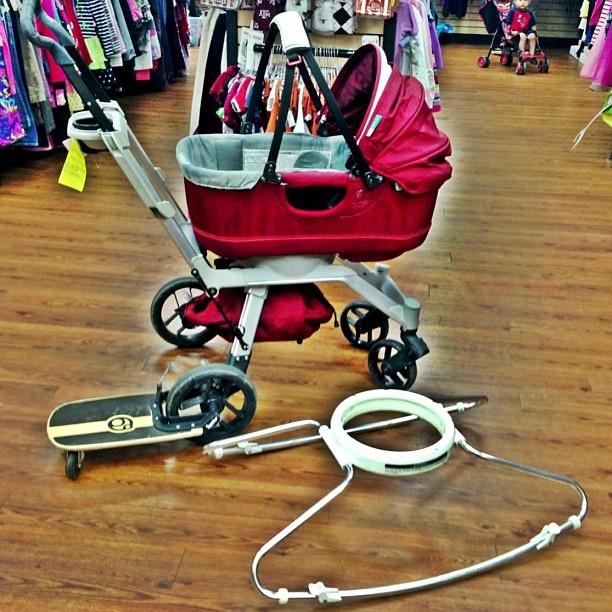 Orbit G2 stroller with sidekick board as well as bassinet and bassinet rocker base.  Kid to Kid price $500!!