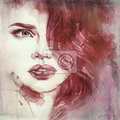 Stickers portrait, style, texture - vrouw portret .abstract aquarel mode- ✓ Brede keuze van materialen ✓ Het product aan je behoeften aangepast ✓ Bekijk de opinies van onze klanten!