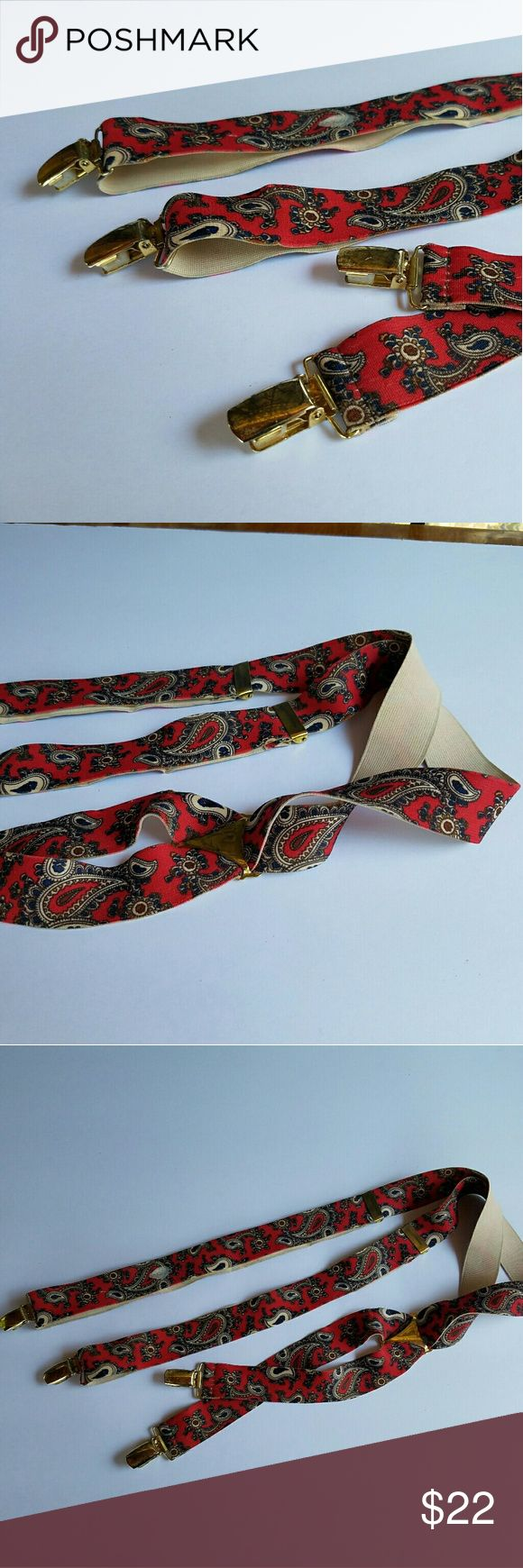 Vintage Paisley Suspenders Red Paisley with Gold Accents. EUC. All Clasps intack. Accessories Belts