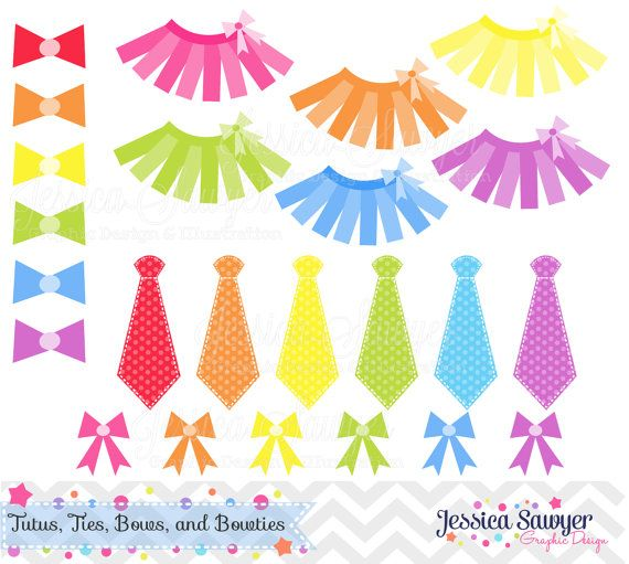 Tutu and Ties Clipart - Tutus or Ties Gender Reveal Party - Instant Download- personal and commercial use okay
