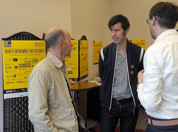 Keynote speaker Stefan Sagmeister meets other speakers in the Green Room