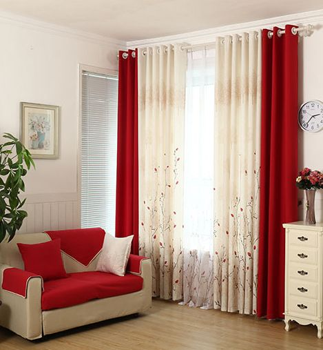 pastoral living room bedroom warm and simple modern custom red curtains finished fabrics cotton linen - Rideaux Salon