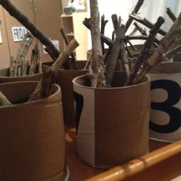 Mmm, how many sticks are there. What patterns could we make? How do we organise? Long, short, fat, thin- all math concepts.