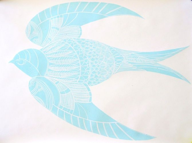 Annie Smits Sandano, Blue, woodcut on 690 x 960 mm paper, A/P, 2012. Contact gallery regarding availability.