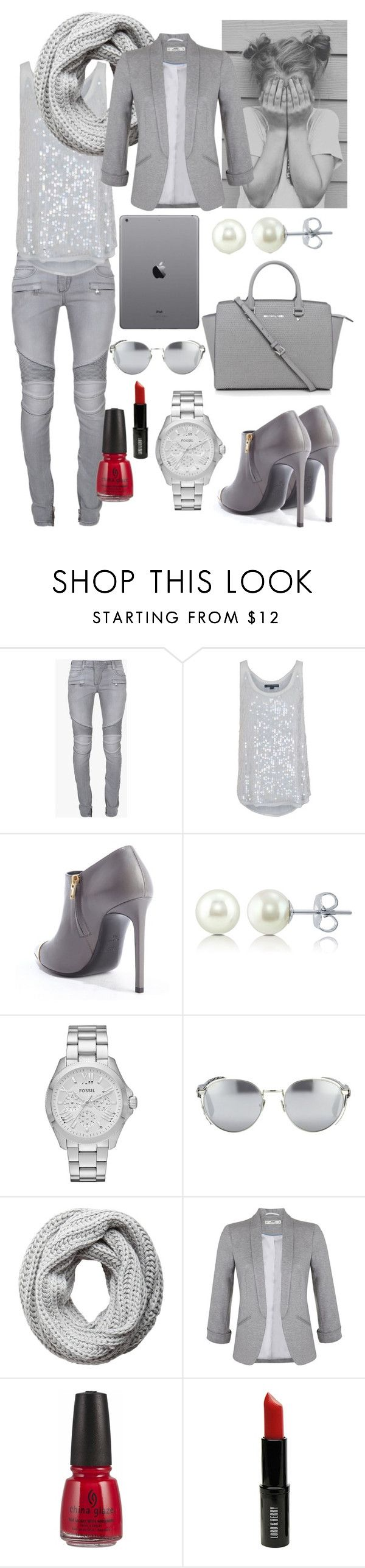 """grey // street style"" by sr-x ❤ liked on Polyvore featuring Balmain, French Connection, Yves Saint Laurent, BERRICLE, FOSSIL, Linda Farrow, Pieces, Miss Selfridge, China Glaze and Lord & Berry"