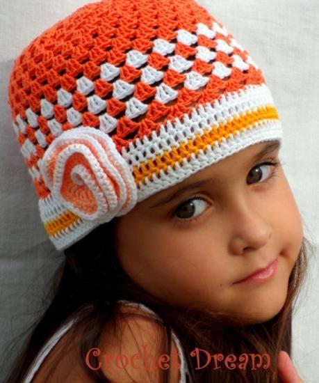 naranjita , gorro para niña tejido a crochet - artesanum com