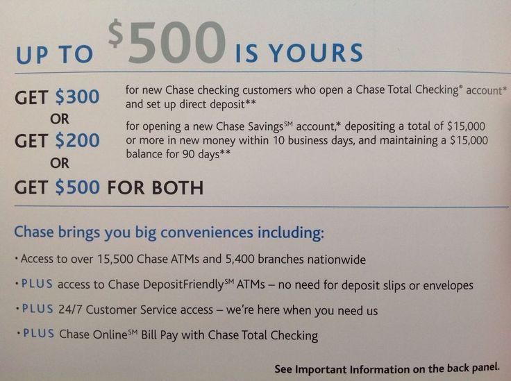 Chase 500 BONUS coupon 300 New Checking & 200 Savings