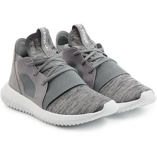 Adidas Originals Tubular X Sneakers (4,175 THB) found on Polyvore featuring women's fashion, shoes, sneakers, grey, round toe shoes, round toe sneakers, urban sneakers, grey sneakers and gray shoes