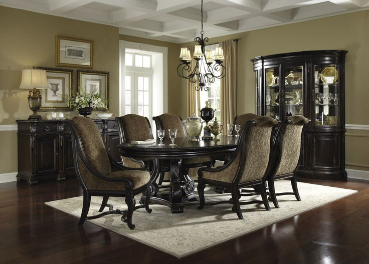 LeGrand Oval Double Pedestal Table Dining Room Collection All Host Chairs 12880