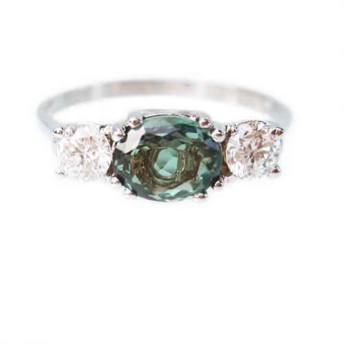Natural Alexandrite Diamond Engagement ring oval ...