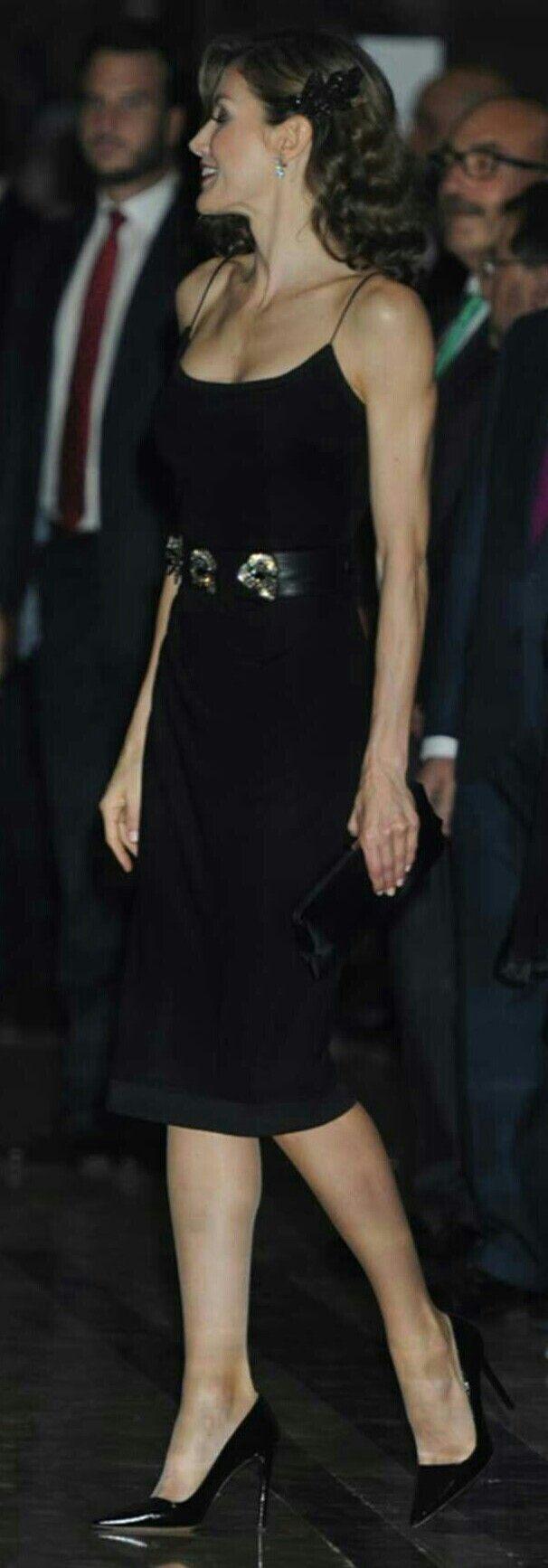 Queen Letizia in Felipe Varela. Concert in Oviedo. Premios Princesa. Night style.