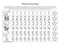practice writing numbers with wild animals