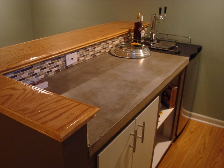 now this might be realistic for me poured concrete counter top wood bar kegerator this looks. Black Bedroom Furniture Sets. Home Design Ideas