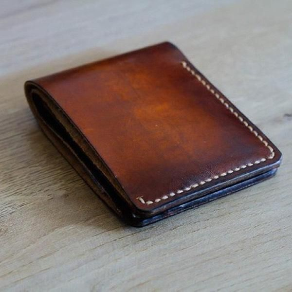 ab62e4065ac5 Vintage Handmade Antique Genuine Leather Slim Bifold Mens Wallet ...