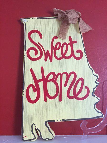 alabama door hangers | Alabama Sweet Home Wooden Door Hanger Sign | Big Daddy's Southern ...