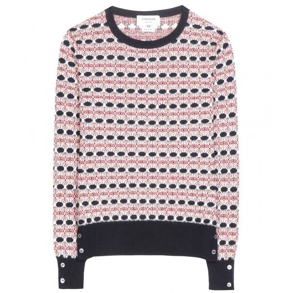 Thom Browne Float Cashmere Jacquard Sweater ($1,930) ❤ liked on Polyvore featuring tops, sweaters, pink, thom browne sweater, thom browne, pink top, jacquard sweater and pink sweater