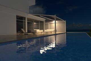 Minimalistisch design, maximaal beschut tegen zon, wind en regen met Lapure terrasoverkapping van Renson.
