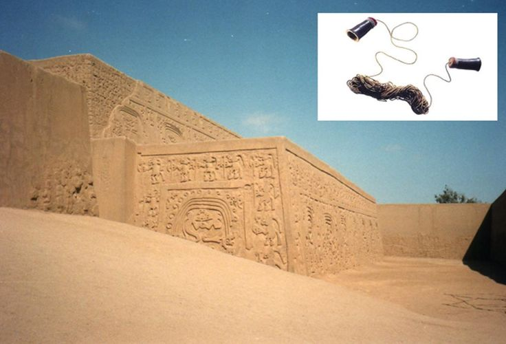 Chan Chan, Peru (Wikimedia Commons). Inset: The enigmatic ancient communication device.