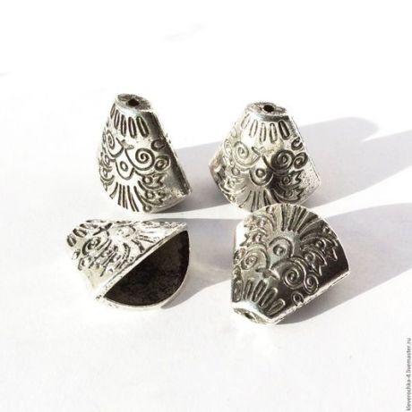 Купить Концевики 18,5 мм для шнуров и жгутов цвет серебро античное - серебряный