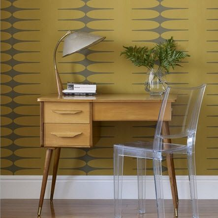 Love this wallpaper - very cool and love the combo of cool charcoal and warm gold.
