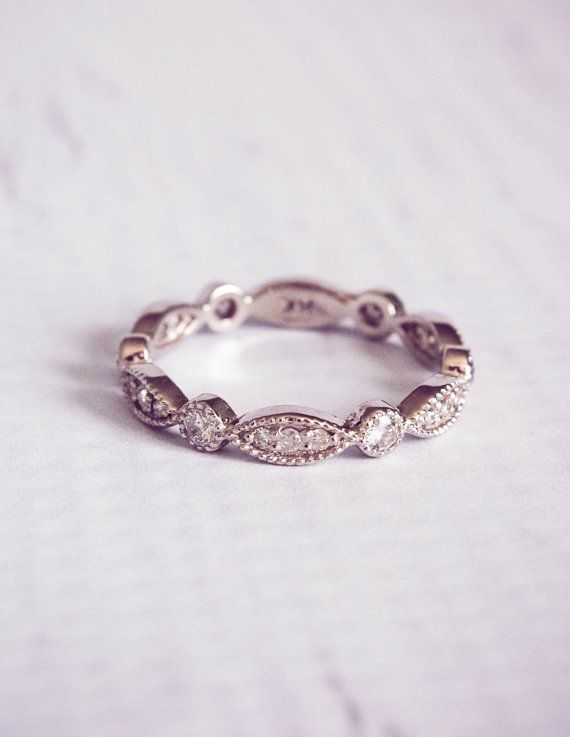 1930's Style Diamond Pave Wedding Band Ring by TemsahJewelers - Deer Pearl Flowers